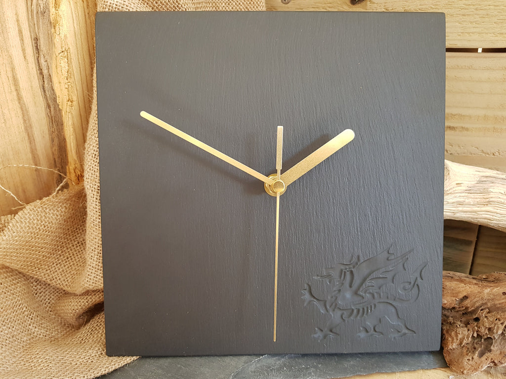 Welsh Dragon Slate Clock