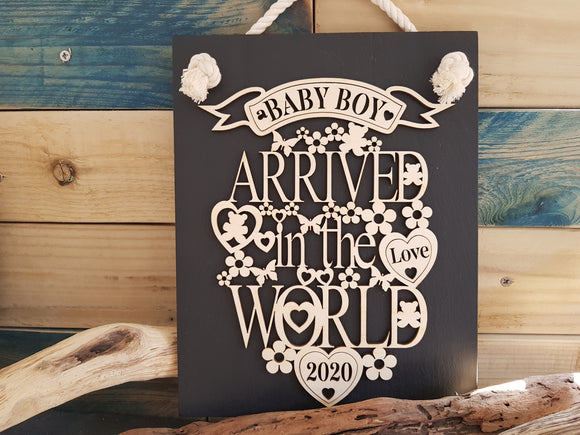 Personalised New Baby Slate & Wood Plaque