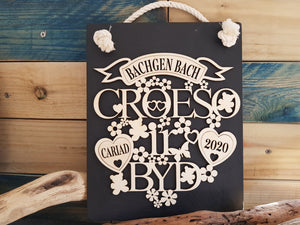 Personalised Croeso i'r byd Slate & Wood Plaque