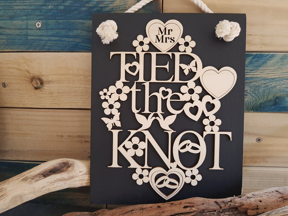 Personalised Tied The Knot Slate & Wood Plaque