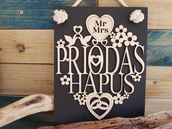 Personalised Priodas Slate & Wood Plaque