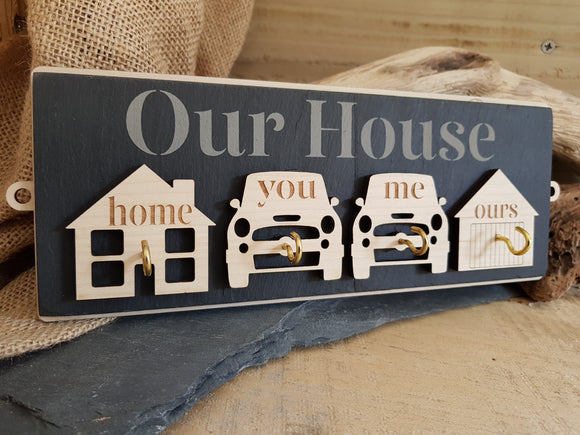 Our House Slate & Wood Key Hook