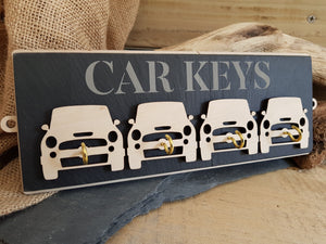 Car Slate & Wood Key Hook