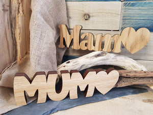 Mam Mum Wood Block Word