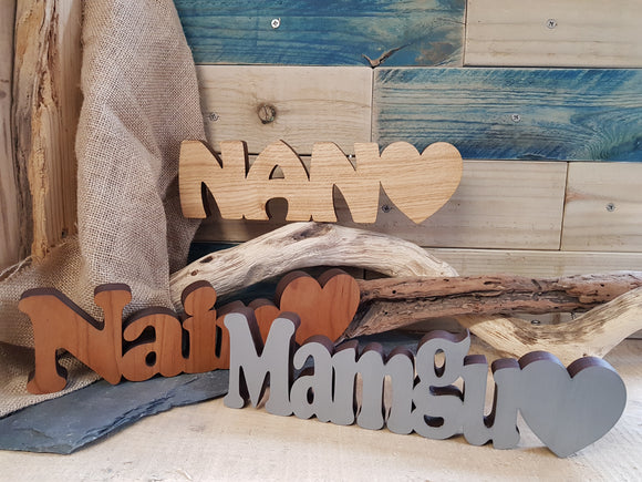 Mamgu Nain Nan Wood Block Word