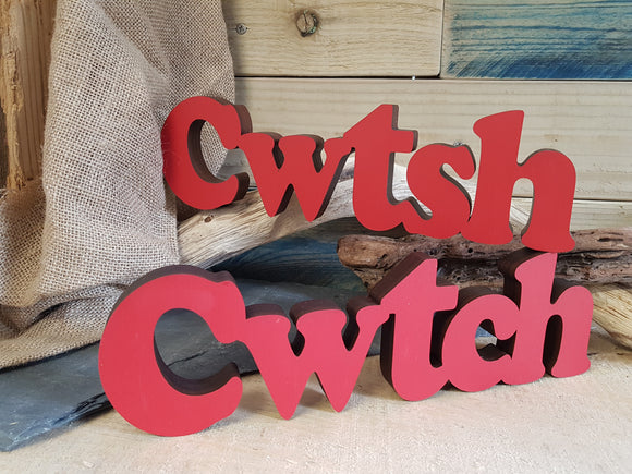 Cwtsh Cwtch Wood Block Word