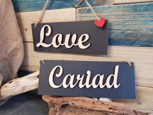 Cariad Love Slate Plaque