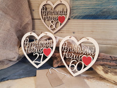 Birthday Fretwork Wood Heart