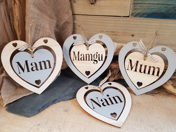 Personalised Double Wood Heart