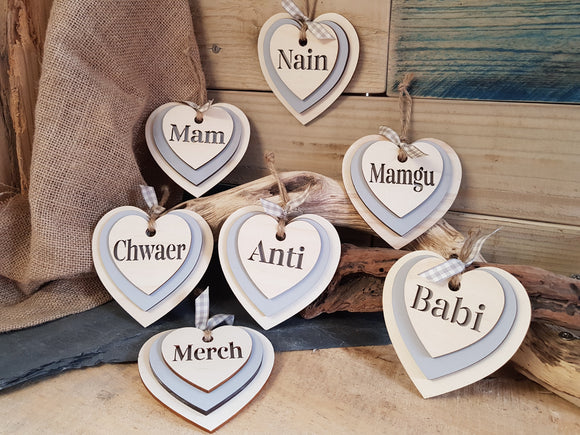 Personalised Triple Slate & Wood Heart