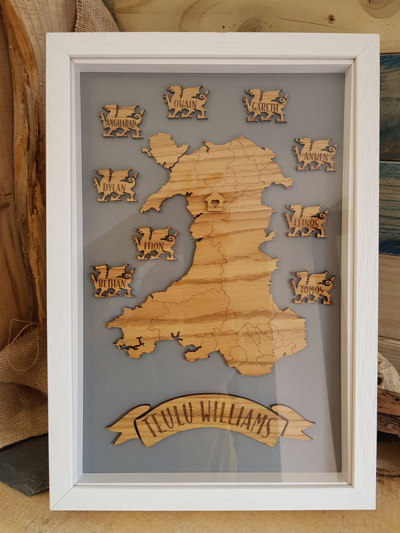 Welsh Map Family Tree Box Frame (Personalised)