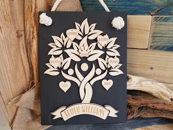 Slate & wood Family Tree (Personalised)