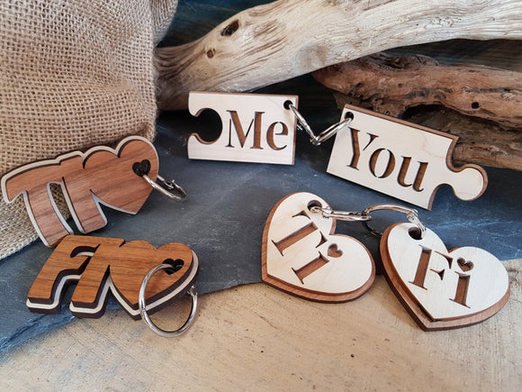 Pair of Wood Keyring