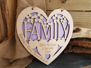 Personalised Teulu Family Fretwork Heart