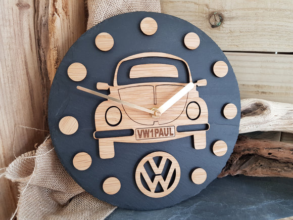 VW Beetle Slate & Wood Clock