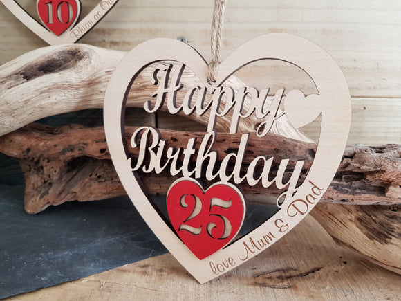 Personalised Birthday Fretwork Wood Heart