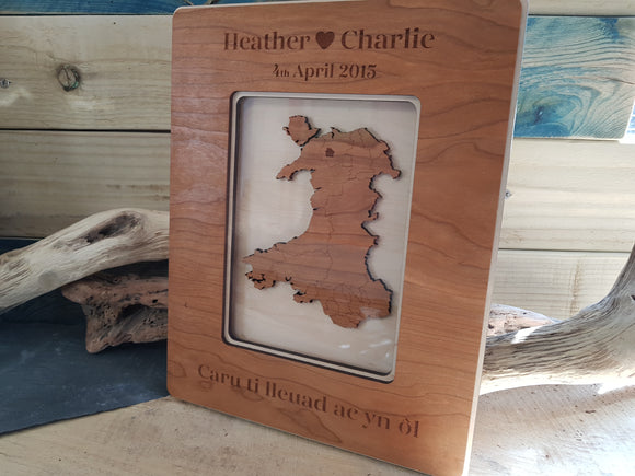 Personalised Wooden Map of Wales