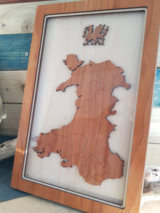 Wooden Framed Map of Wales (Large)