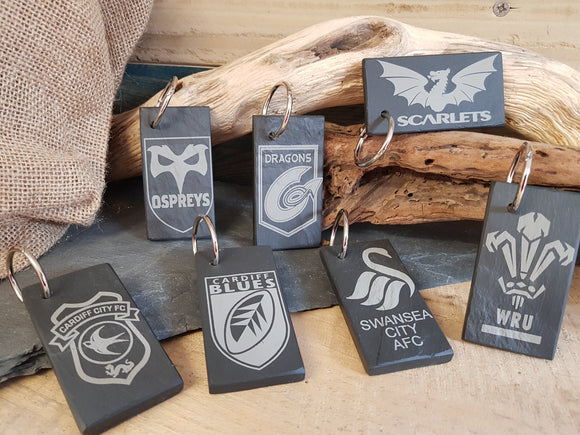 Welsh Teams Slate Key rings