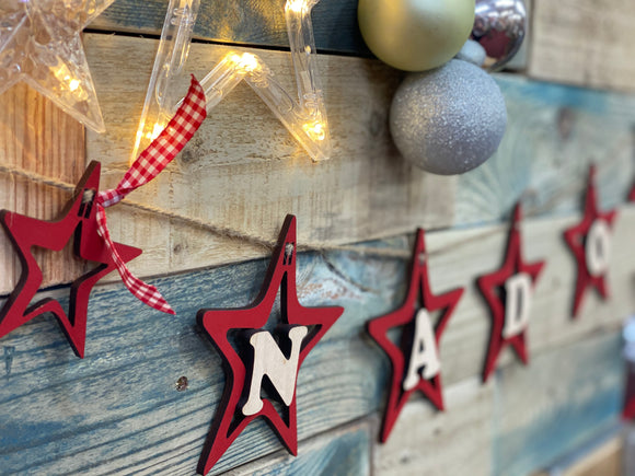 Wooden Christmas Star Bunting