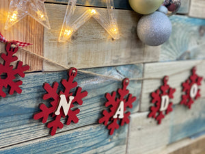 Wooden Snowflake Bunting