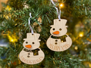 Snowman Wooden Bauble