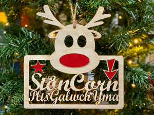 Sion Corn Reindeer Hanging Sign