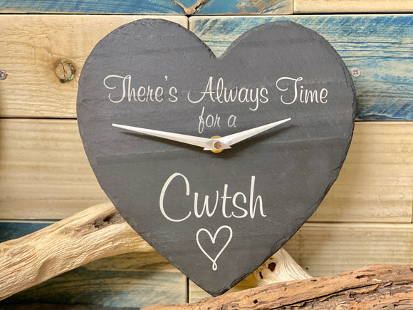 Slate Heart Clock Time for a Cwtsh Design