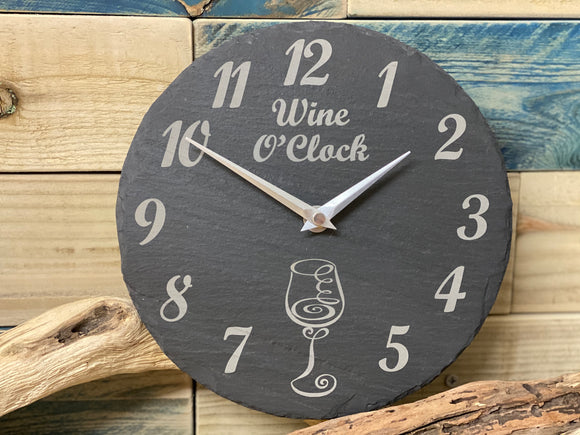 Slate Clock Wine O'Clock Design