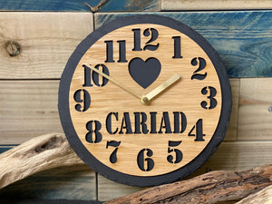 Slate & Oak Cariad Clock