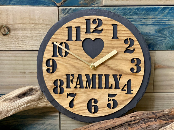 Slate & Oak Family Clock