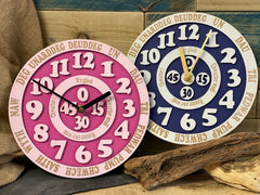 PERSONALISED LEARN THE TIME CLOCK WELSH