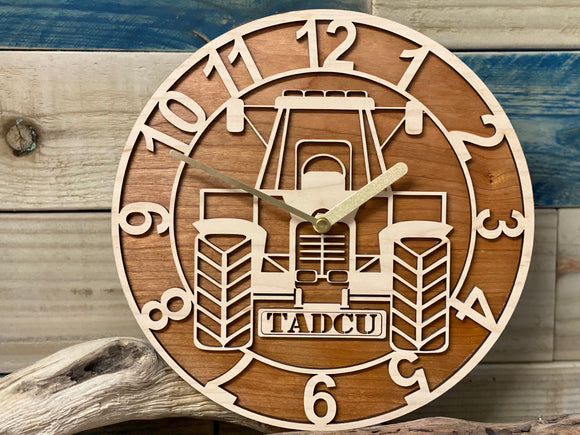 Personalised Tractor Wood Clock