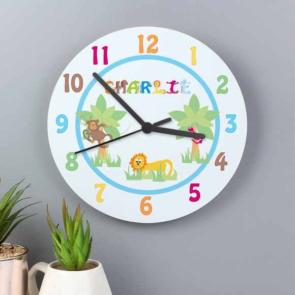 Personalised Boys Animal Clock
