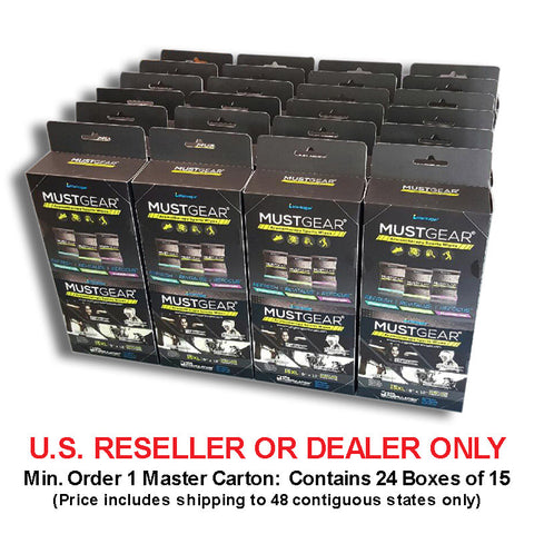 *RESELLER - 1 Master Carton: 24 Boxes of MUSTGEAR Aromatherapy Sports Wipes 15-Pack Assorted Flavors