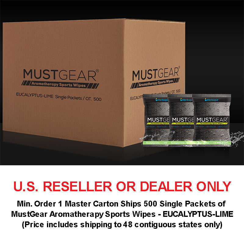 RESELLER - 1 Master Carton Ships 500 Single Packets of MustGear Aromatherapy Sports Wipes - EUCALYPTUS-LIME