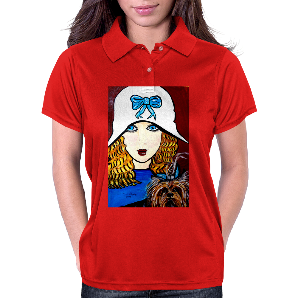 1920S ART DECO WITH YORKIE Womens Polo
