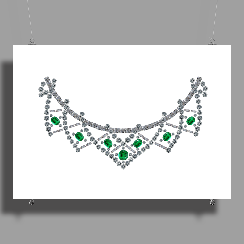 1950s emerald and diamond necklace Poster Print (Landscape)