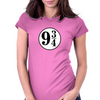 9 3/4 White Sticker Womens Fitted T-Shirt
