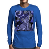 Amazing Blue Elephant with Raised Trunk Abstract Art Mens Long Sleeve T-Shirt