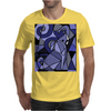 Amazing Blue Elephant with Raised Trunk Abstract Art Mens T-Shirt