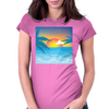 Beauty Sunset Beach Landscape Womens Fitted T-Shirt