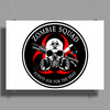 Biohazard Zombie Squad Always aim for the head Ring Patch outlined Poster Print (Landscape)