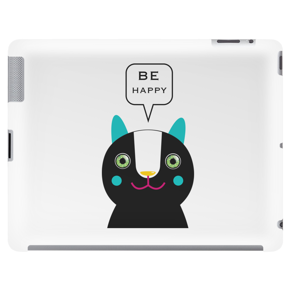 Black Be Happy Cat Head Tablet (horizontal)