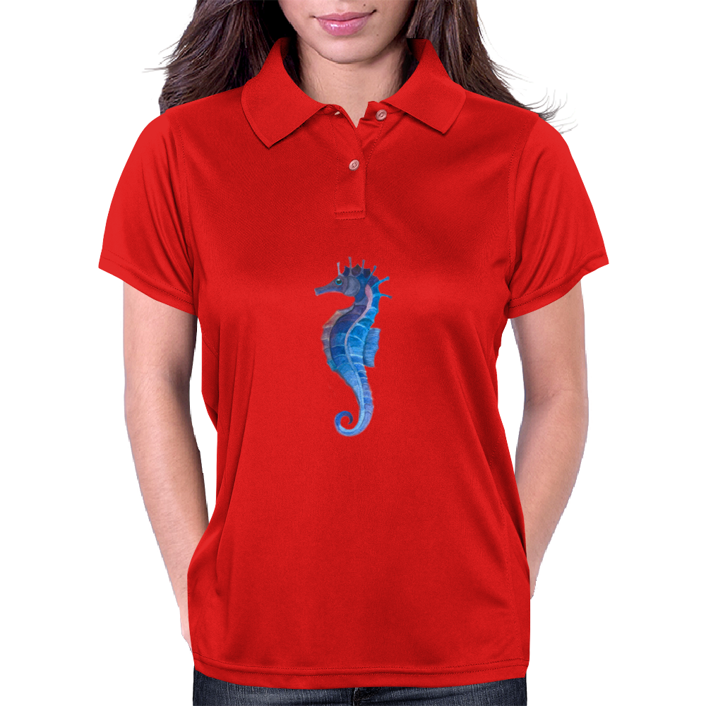Blue seahorse (Hippocampus) Womens Polo