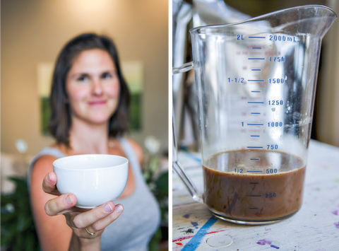 Left: Woman holding a cup of chai, Right: Chai concentrate in a measuring cup