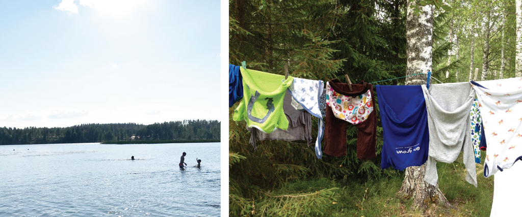 Left: people swimming in a lake in Finland, Right: laundry hung up to dry in the forest