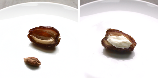Left: medjool date cut in half and pitted; Right: Halved, pitted, date filled with cheese