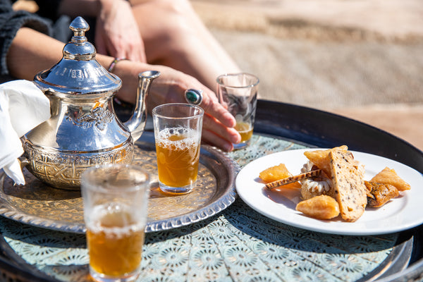 Traditional Moroccan Mint Tea with traditional Moroccan snacks