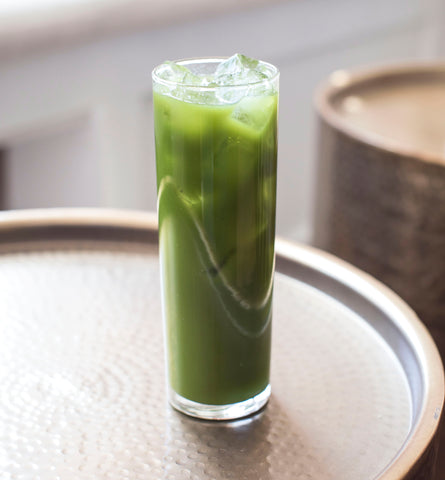 Green Goddess matcha iced green tea with CBD oil